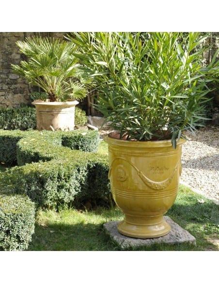 Vase d'Anduze émaillé tradition jaune