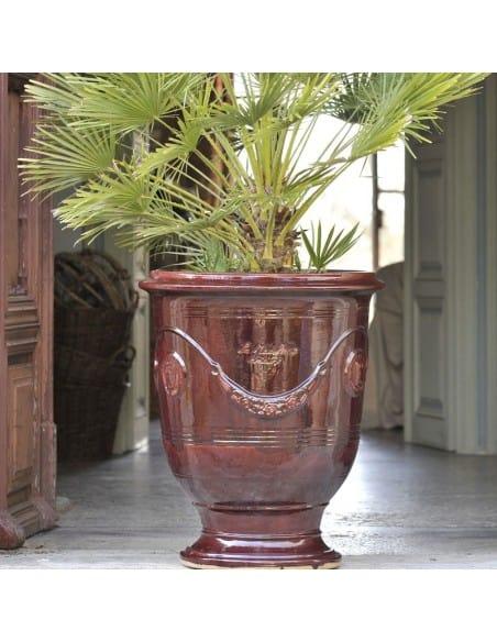 Vase d'Anduze couleur bordeaux