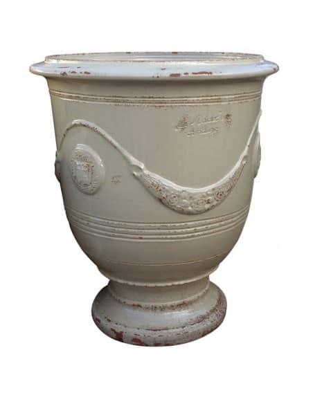 Vase d'Anduze vieilli tradition ivoire
