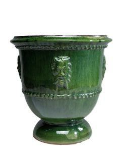 Vase tête de Faune émaillé tradition vert