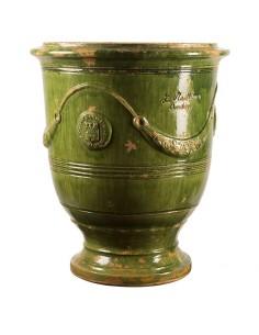 Vase d'Anduze vieilli tradition vert