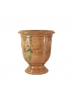 Anduze vase traditionally glazed flame (middle sizes)
