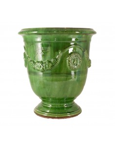 Anduze vase traditionally glazed green (middle sizes)