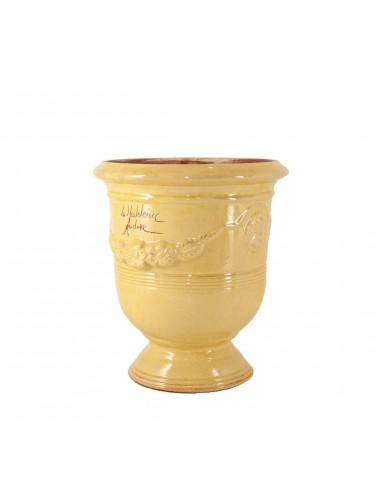 Vase d'Anduze émaillé tradition jaune (Tailles moyenne)