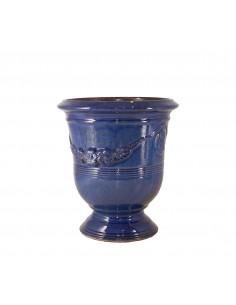 Anduze vase traditionally glazed blue (middle sizes)