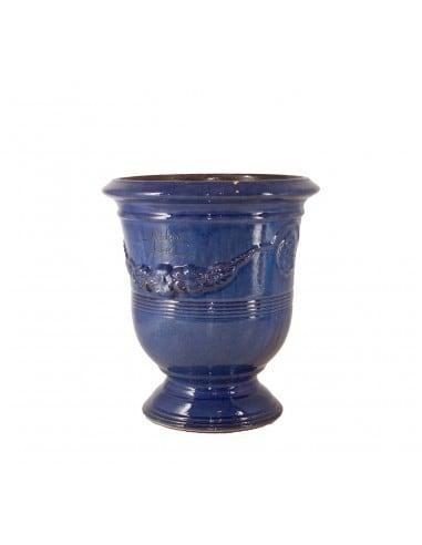 Vase d'Anduze émaillé tradition bleu (Tailles moyenne)