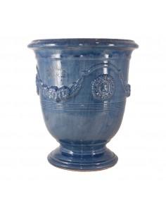 Vase d'Anduze émaillé tradition bleu lavande (Tailles moyenne)