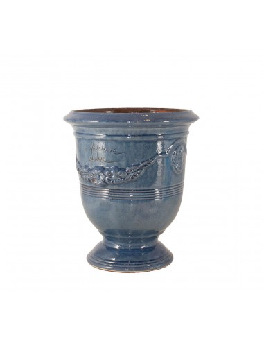 Anduze vase traditionally glazed lavender blue (middle sizes)