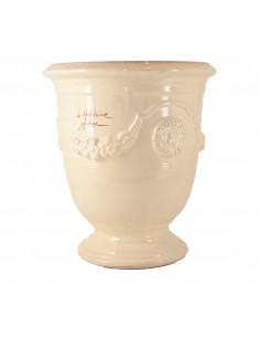 Vase d'Anduze émaillé couleur ivoire (Tailles moyenne)