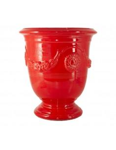 Vase d'Anduze émaillé couleur rouge (Tailles moyenne)
