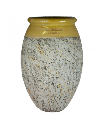 Olive shape Biot jar yellow collar...