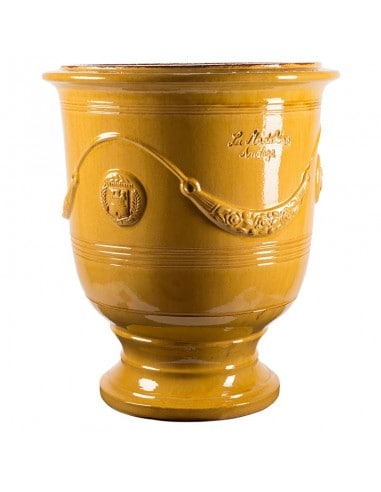 Traditional glazed Anduze vase yellow