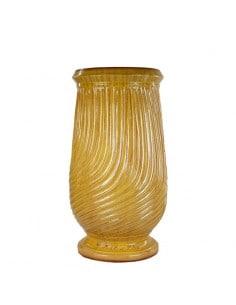 Traditional yellow striated glazed oil jar