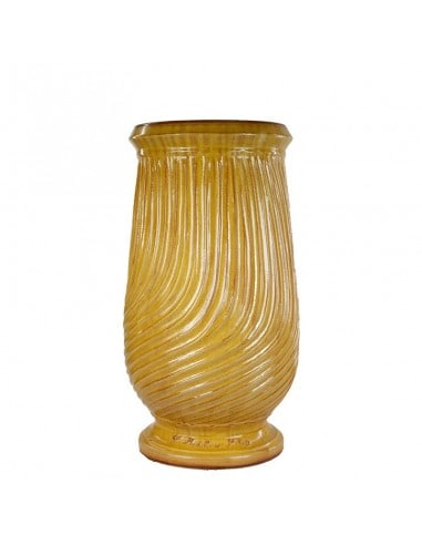 Traditional yellow striated glazed oil jar