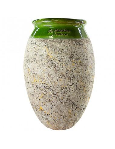 Olive shape Biot jar green collar...