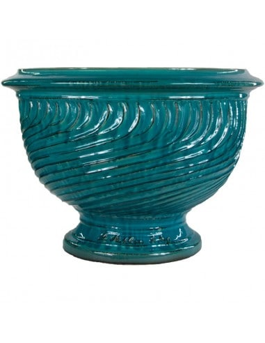 Striated turquoise patina Anduze cup