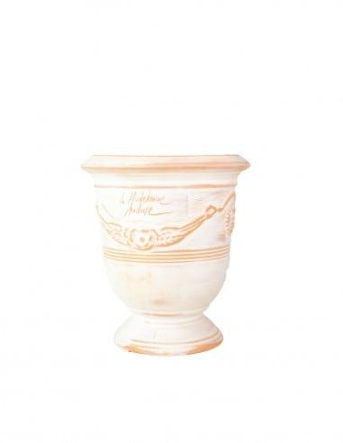 Vase d'anduze blanc cérusé n°6 D21cm - H24cm