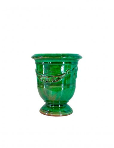 Anduze mini vase green enamelled tradition n°6 D21cm - H24cm