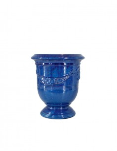 Anduze mini vase blue enamelled tradition n°6 D21cm - H24cm