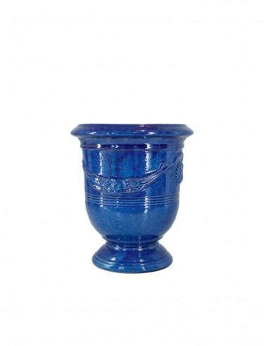 Vase d'anduze émaillé tradition bleu n°6 D21cm - H24cm