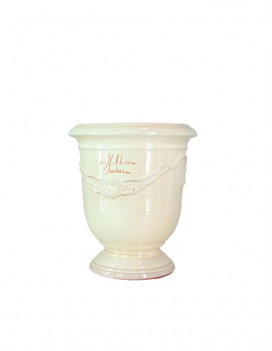 Anduze mini vase enamelled ivory tradition n°6 D21cm - H24cm