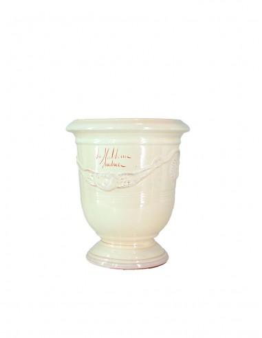 Vase d'anduze émaillé ivoire n°6 D21cm - H24cm