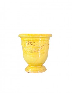Anduze mini vase yellow enamelled tradition n°6 D21cm - H24cm