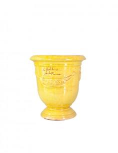 Vase d'anduze émaillé tradition jaune n°6 D21cm - H24cm