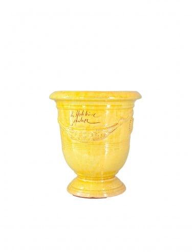 Anduze mini vase yellow enamelled tradition n°6 D21cm - H24cm