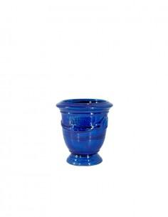 Mini vase d'Anduze émaillé tradition bleu n°7 D13cm - H14cm