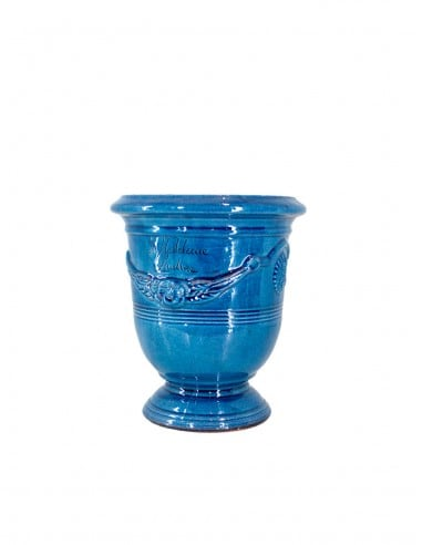 Anduze mini vase lavender blue glazed tradition n°6 D21cm - H24cm