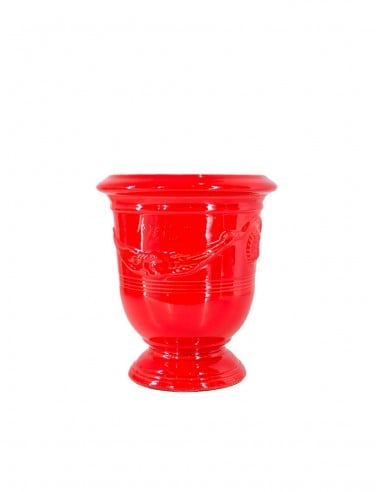 Vase d'Anduze émaillé couleur rouge...