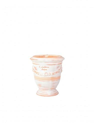 Mini vase d'anduze avec bougie blanc cérusé n°7 D13cm - H14cm