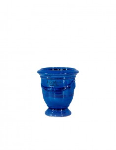 Anduze mini vase blue with candle n°7 D13cm - H14cm
