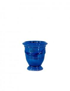 Mini vase d'anduze avec bougie couleur bleu n°7 D13cm - H14cm