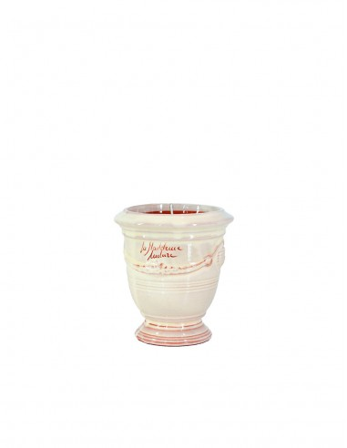 Anduze mini vase ivory with candle n°7 D13cm - H14cm