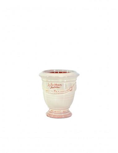 Mini vase d'Anduze avec bougie émaillé couleur ivoire n°7 D13cm - H14cm