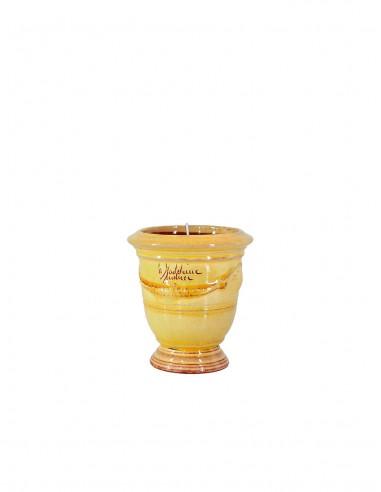 Mini vase d'Anduze avec bougie émaillé tradition jaune n°7 D13cm - H14cm
