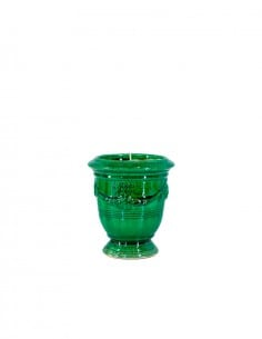 Anduze mini vase green with candle n°7 D13cm - H14cm