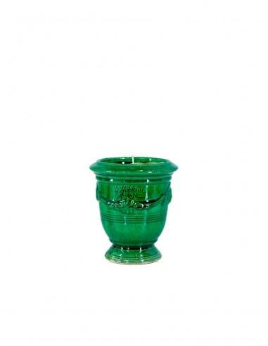 Mini vase d'Anduze avec bougie émaillé tradition vert n°7 D13cm - H14cm