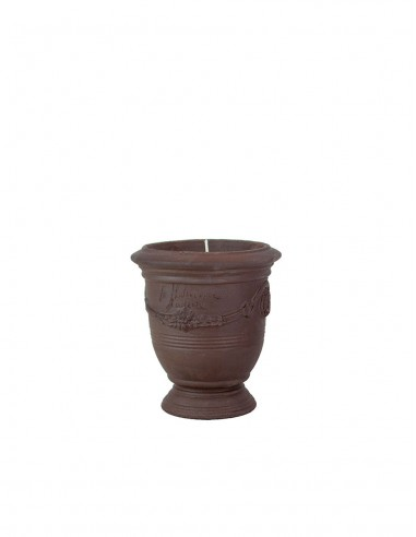 Mini vase d'Anduze avec bougie terre noire naturelle n°7 D13cm - H14cm