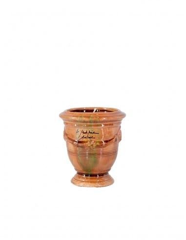 Mini vase d'Anduze avec bougie émaillé tradition flammé n°7 D13cm - H14cm