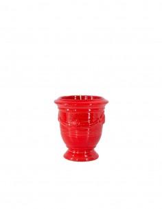 Mini vase d'Anduze avec bougie émaillé couleur rouge tomate n°7 D13cm - H14cm