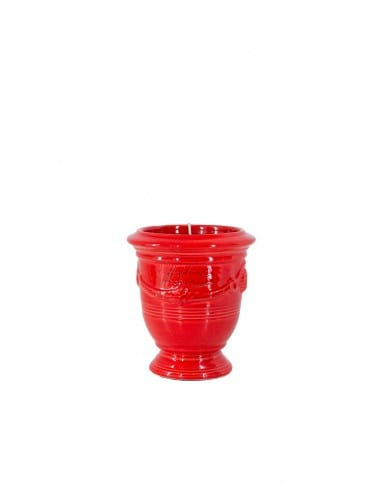 Anduze mini vase glazed color tomato red with candle n°7 D13cm - H14cm