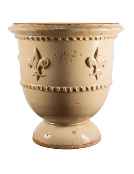 Vase fleur de Lys vieilli tradition ivoire